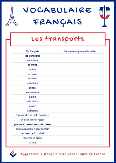 Fiche de vocabulaire pdf - Les transports en français - Vocabulaire De France