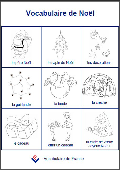 Picture sheet of French Christmas vocabulary – J'aime le français